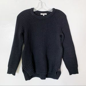 Madewell Black Sweater with Side Zippers
